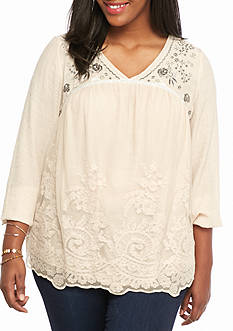 Jolt Plus Size Embellished Lace Overlay Top
