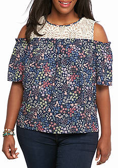 Jolt Plus Size Lace Floral Cold Shoulder Top