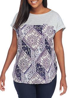 Jolt Plus Size Cross Neck Woven Top