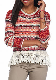 Jolt Multi Striped Lace Hem Knit Top