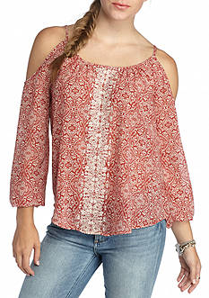 Jolt Cold Shoulder Crochet Trim Peasant Blouse