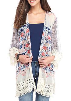 Jolt Crochet Trim Bandana Printed Kimono