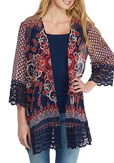 Jolt Crochet Lace Trim Printed Kimono