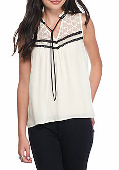 Jolt High Neck Tie Peasant Top