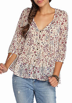 Jolt Tiered Button Front Blouse