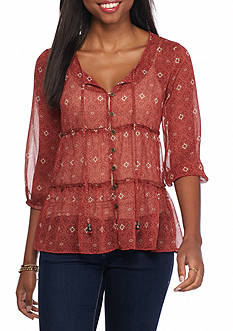 Jolt Tiered Button Front Printed Blouse