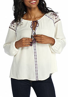 Jolt Printed Shoulder Peasant Blouse