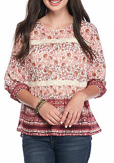 Jolt Tiered Floral Print Blouse
