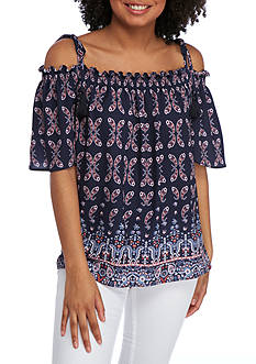 Jolt Off The Shoulder Tie Tassel Blouse