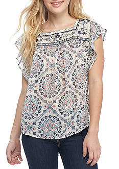 Jolt Short Sleeve Peasant Top