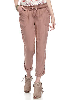 Jolt Ankle Pants with Rolled Hem Tie Waist