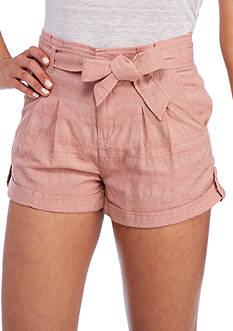 Jolt Paper-Bag Tie Waist Shorts