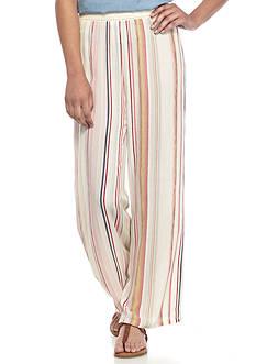 BeBop Ivory Stripe Crinkle Crepe Pants