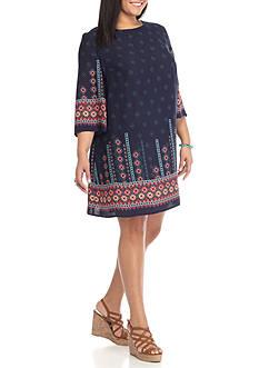 BeBop Plus Size Geometrical Border Crepe Shift Dress