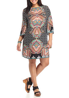 BeBop Plus Size Spanish Tiles Paisley Shift Dress