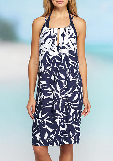 Tommy Bahama® Graphic Jungle Hi Neck Tunic Cover Up