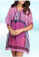 Tommy Bahama® Geo Lace Up Tunic Swim Cover Up