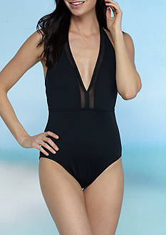 Tommy Bahama Mesh Plunge Halter One Piece Swimsuit