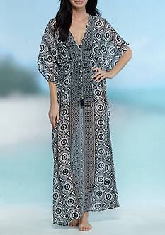 Tommy Bahama Geo Relief Ankle Length Tassel Tunic Swim Cover Up
