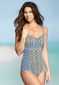Tommy Bahama Tile Medallion Low Back One Piece Swimsuit