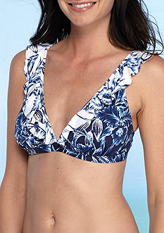 Tommy Bahama Sketchbook Blossom V-Neck Ruffle Bra Swim Top