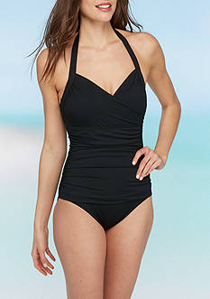 Tommy Bahama Island Sculpt Solids Wrap Front Halter One Piece Swimsuit