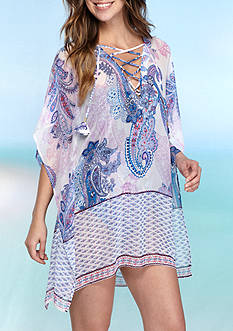 Tommy Bahama Paisley Leaves Lace Up Tunic Swim Cover Up