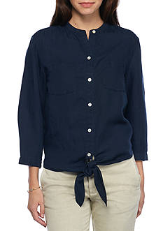 Tommy Bahama Three Quarter Sleeve Tie Top
