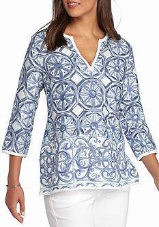 Tommy Bahama Watercolor Tiles Tunic Top