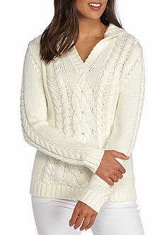Tommy Bahama Cable Hoodie Pull-On Sweater