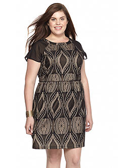 Eyeshadow Plus Size Contrast Sleeve Fit-and-Flare Dress