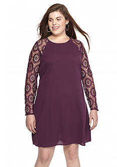 Eyeshadow Plus Size Lace Sleeve Shift Dress