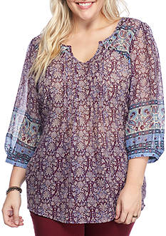 Eyeshadow Plus Size Scarf Print 3/4 Sleeve Blouse