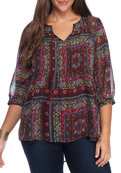 Eyeshadow Plus Size Patch Print Pintuck Top