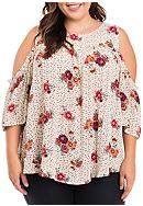 Eyeshadow Plus Size Cold Shoulder Floral Top