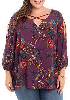 Eyeshadow Plus Size Split Shoulder Floral Top