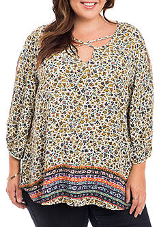 Eyeshadow Plus Size Crossneck Border Top