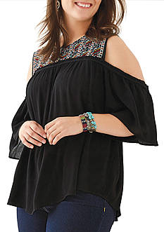 Eyeshadow Plus Size Cold Shoulder Embroidered Top
