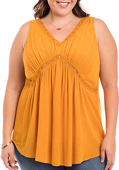 Eyeshadow Plus Size Double V Crochet Tank