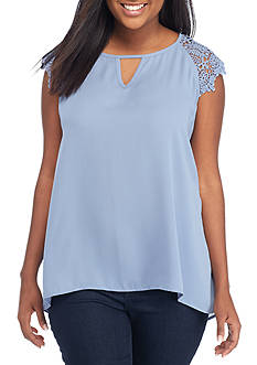 Eyeshadow Plus Size Lace Cap Sleeve Keyhole Top