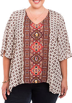 Eyeshadow Plus Size Split Sleeve Border Print Top