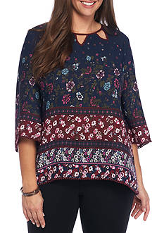 Eyeshadow Plus Size Border Print Floral-Tunic