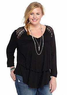 Eyeshadow Plus Size Tiered Knit Top