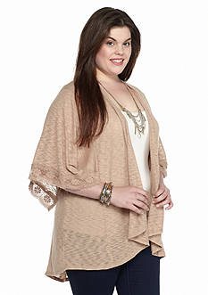 Eyeshadow Plus Size Crochet Trim Cardigan