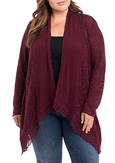 Eyeshadow Plus Size Rib Slub Cardigan