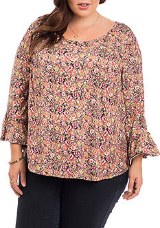 Eyeshadow Plus Size Mini Floral Flounce Sleeve Top