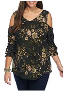 Eyeshadow Plus Size Floral Print Cold Shoulder Top