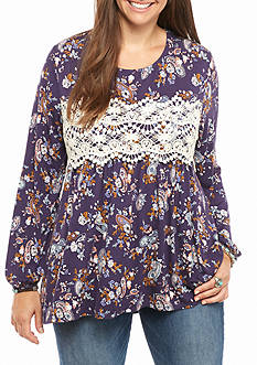 Eyeshadow Plus Size Paisley Printed Crochet Babydoll Shirt