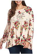 Eyeshadow Plus Size Baby-doll Printed Crochet Top