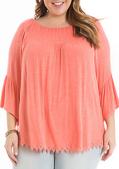 Eyeshadow Plus Size Ruched Neck Flounce Top
